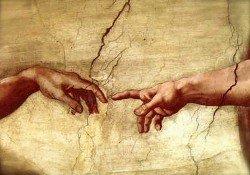 The Creation of Adam, hands detail, 1511-12.jpg